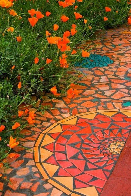 Mosaic on pathway