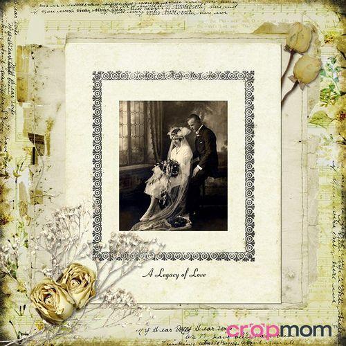 CropMom online scrapbooking: vintage wedding scrapbook page