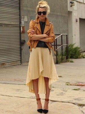 Pleated skirt + leather jacket