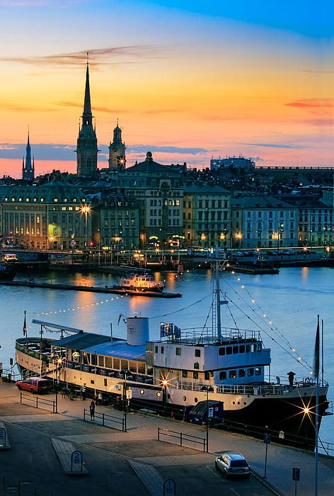 Night in Stockholm's Slussen, Sweden