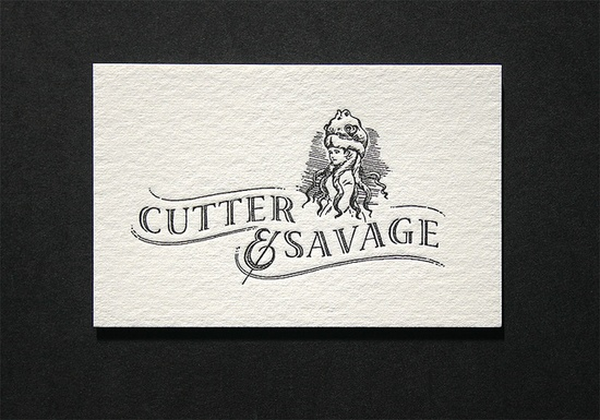 Cutter & Savage Business Cards: these charming business cards were designed by Cutter & Savage and letterpress printed black both sides on our Heidelberg platens. The paper is 425gsm 100% cotton and enhances the nostalgic feel to the cards.