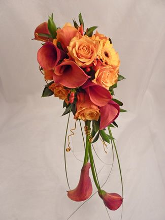 Cascading Orange Cala Lily Bouquet
