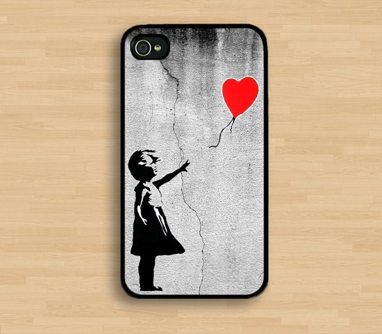 Banksy Balloon Girl iphone 4 Case Cover, iPhone 4s Case, iPhone 4 Hard Case, iPhone Case. $7.89, via Etsy.
