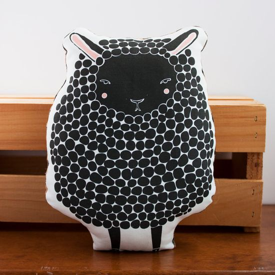 Handmade Black Sheep Pillow Sheep Toy by Gingiber