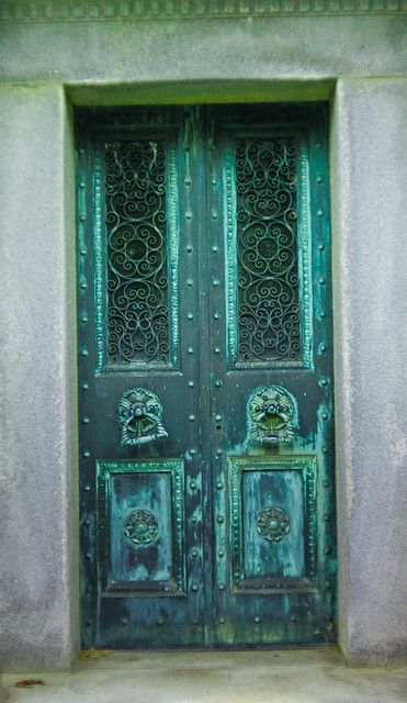 Gorgeous door with various blue and green patina