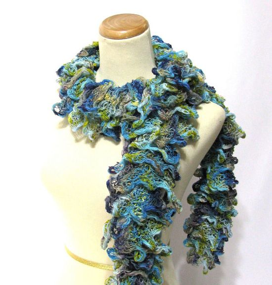 Hand Knit Ruffled Scarf  Turquoise Blue by ArlenesBoutique on Etsy, $45.00