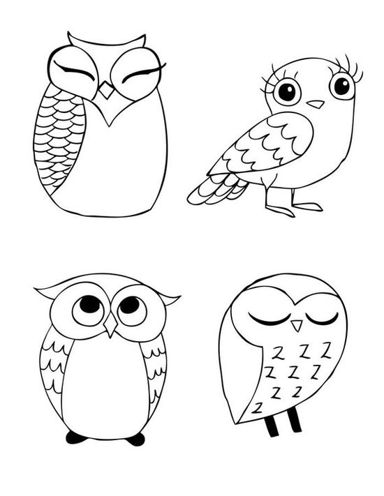 owls - my collection; owls embroidery pattern inspiration; colour it, stitch it, paint it, etc.