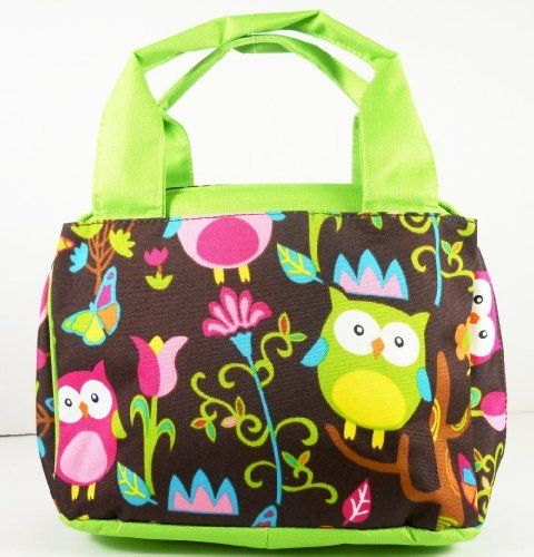 "Owl Lime Green Lunch Bag Box by LD Bags. $23.95. 10.75"" (L) x 5.5"" (H) x 7.75"" (W). Exterio Pockets on Each Side of the Outer Bag. Zipper Closure. Microfiber. Carry your lunch in style with this bowler style insulated lunch bag. This is a  multi purpose bag. Great for a purse, diaper bag for babies bottles, anything that you need to carry in style! Insulated inside  that can be wiped clean. Very durable quality fabric"