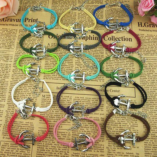 15 Colors Handmade charm bracelet,Chain anchor Bracelet,Korean wax