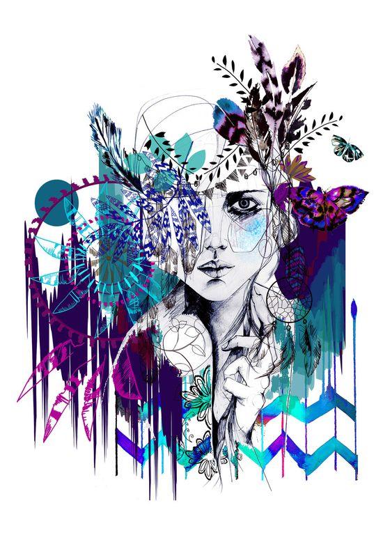 FASHION ILLUSTRATION - Tribal Girl #art