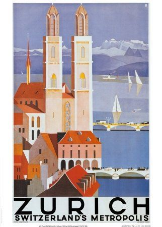 #Zurich Switzerland  #vintage #travel #poster  # We cover the world over 220 countries, 26 languages and 120 currencies Hotel and Flight deals.guarantee the best price multicityworldtra...