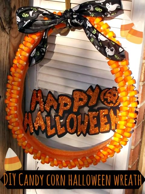 Homemade Candy Corn Halloween Wreath ~ Make Your Own For $5 - Farmer's Wife Rambles