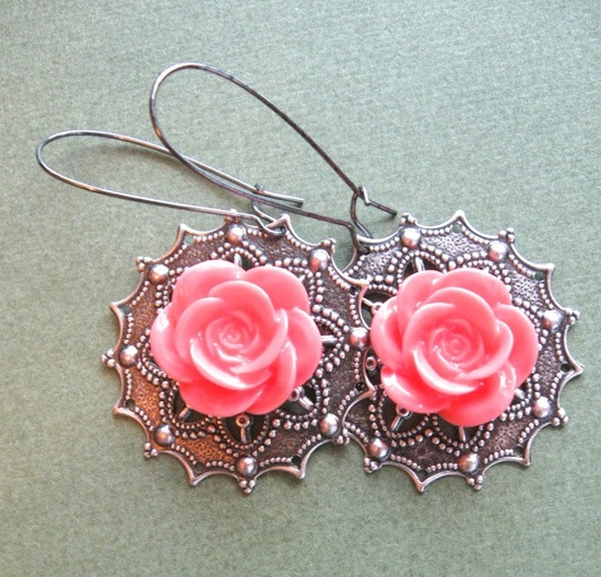 CORAL ROSE earrings on French wires. $8.00.  So stunning.  www.etsy.com/...