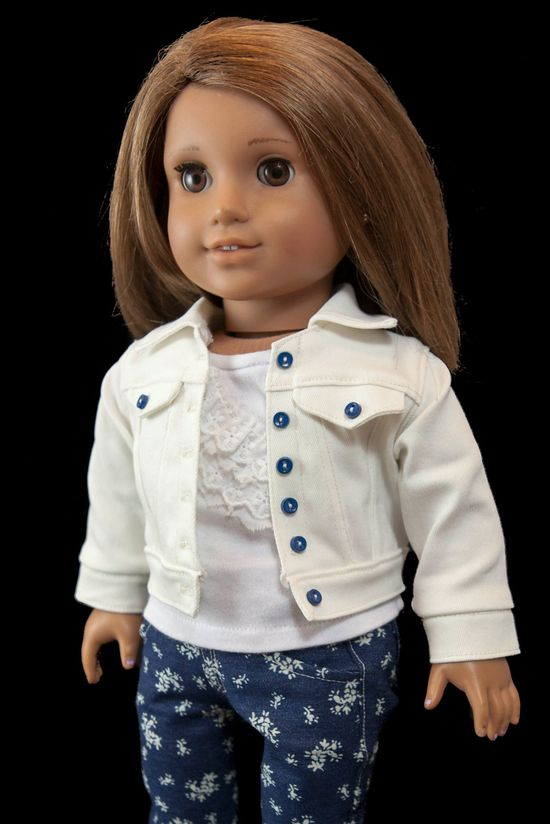 Floral Print Jeans with Lacy Top and White Denim Jacket for American Girl Doll. $39.00, via Etsy.