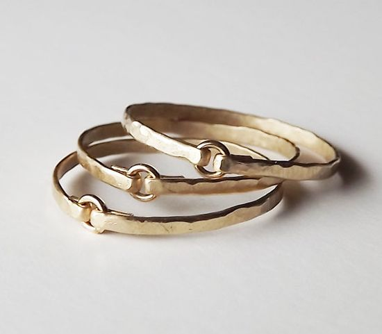 Three Hammered Gold Filled Tiny Circle Rings  by BellatrinaJewelry, $44.00
