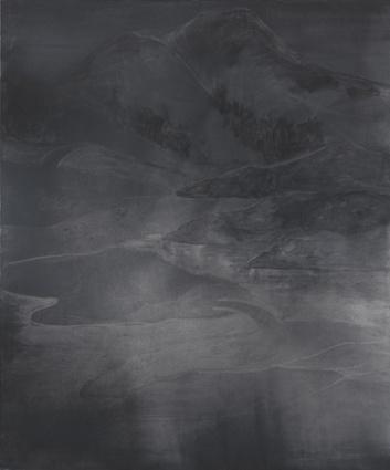 "// Silke Otto-Knapp: ""Mountainlandscape"" (2012), watercolor on linen"