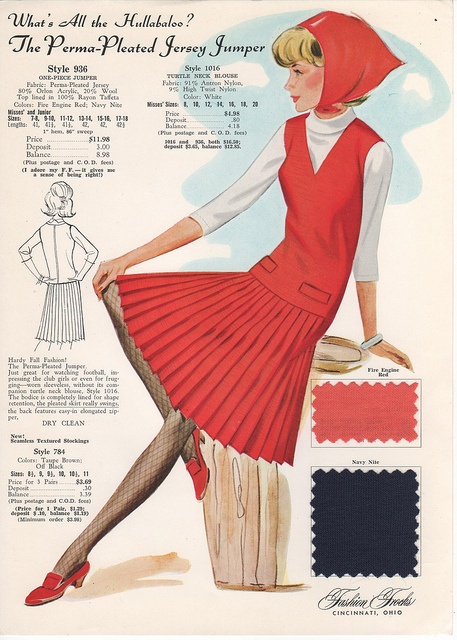 Love the idea of marrying fishnet stockings with a pleated skirt and jaunty headscarf in one fun 1960s ensemble. #vintage #clothing #fashion #card #retro #sewing #catalog #1960s #sixties #dress