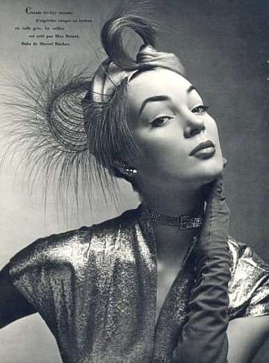 Ivy Nicholson in feathered turban by Claude Saint-Cyr (Millinery), , L'Officiel 1951. 1950's fashion . Turbans