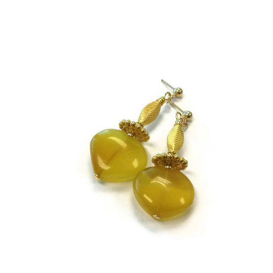 Yellow Earrings Gold Jewelry Chalcedony by jewelrybycarmal on Etsy, $48.00