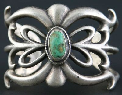 Navajo Sandcast Silver and Turquoise Bracelet c. 1950