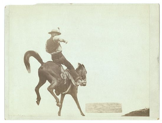 """Bucking Bronco."" Ned Coy, a famous Dakota cowboy, starts out for the cattle round-up with his pet ""Boy Dick."""