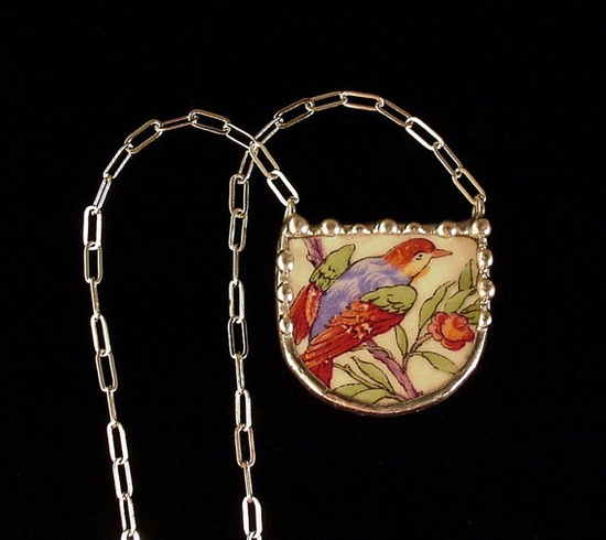 New today - Antique bird of paradise broken china necklace. Laura Beth Love - on Pinterest and dishfunctionaldes...