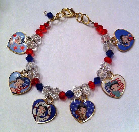 All American Betty Boop collectible heart charm by BeadingByJenn, $30.00 #jewelry #handmade #bracelet #bettyboop #usa #American #patriotic #heart #stars #redwhiteandblue #flag #4thofjuly #etsy
