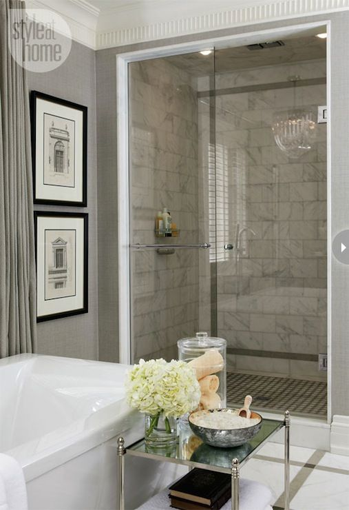 {Floor tile} Harvey Wise - Master bathroom with gray grasscloth wallpaper and crown molding  ...