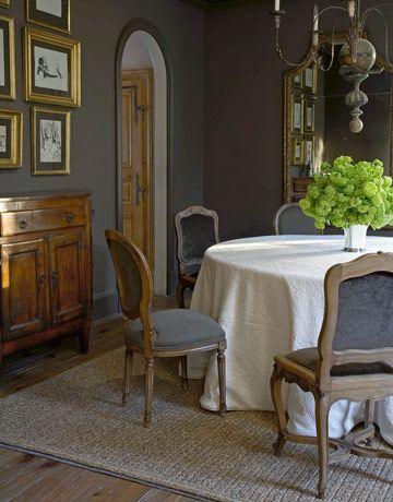 mismatched French Régence-style  & dark grey walls