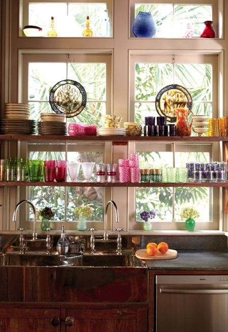 Muffie Faith's copper sink, stone counter & wood cabinets via Charleston Home Mag