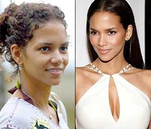 Halle Berry with and without makeup