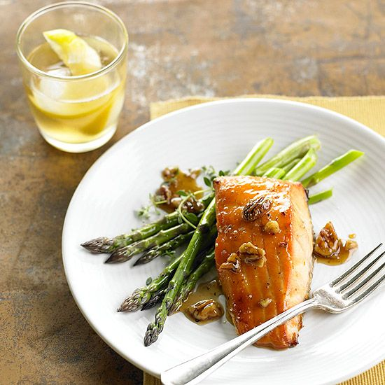 A maple-bourbon glaze gives this healthy salmon sweet flavor. Recipe: www.bhg.com/...