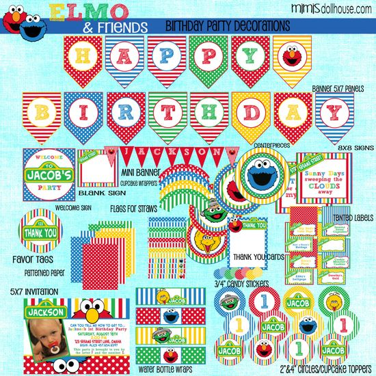 Sesame Street Decorations- Printable Sesame Street Party Birthday Party