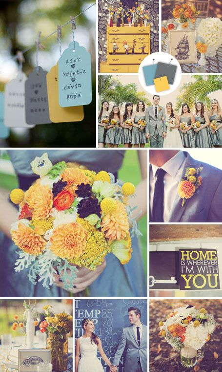 wedding color combination: yellow, blue and grey