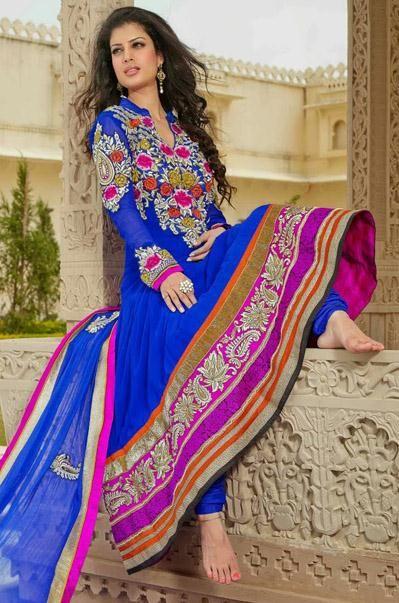 USD 122.94Blue Georgette Zardosi Work Designer Floor Length Anarkali Salwar Kameez 27626