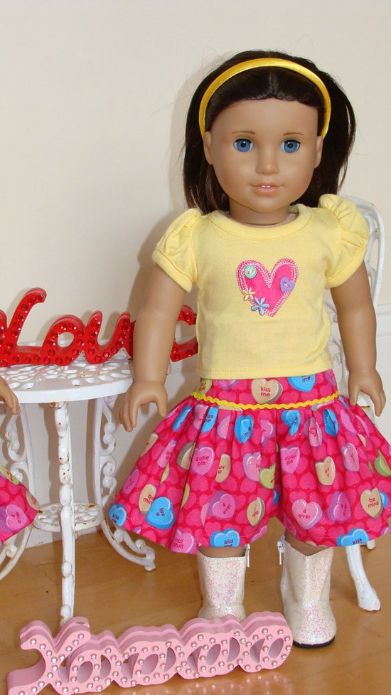 American Girl Doll 18 inch Valentine's Day Yellow by SweetPeaKidz, $22.00