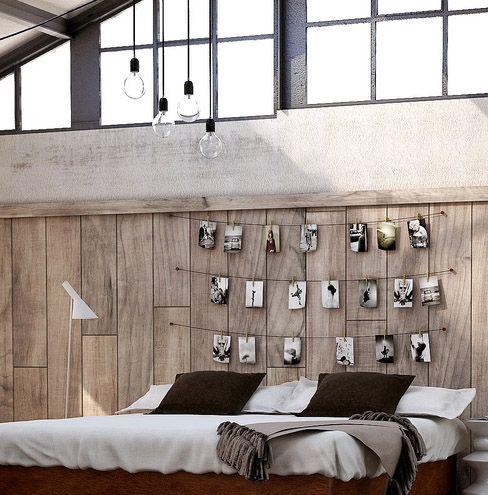 eclectic utilitarian bedroom DIY photo headboard feature wall
