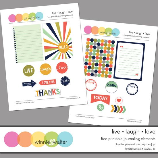 Printables -- Live Laugh Love Journal Cards and Labels