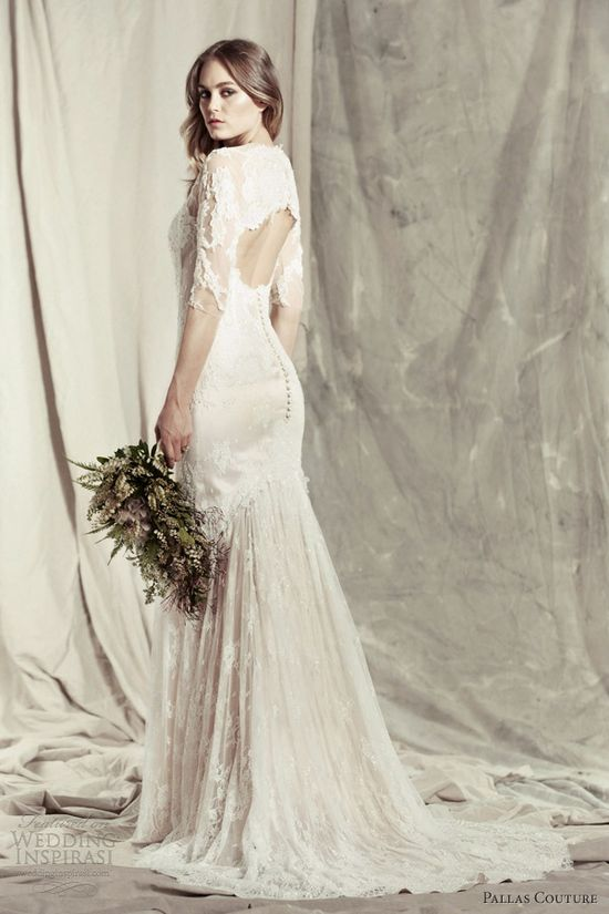 pallas couture 2013 mallerie lace wedding dress sleeves keyhole back
