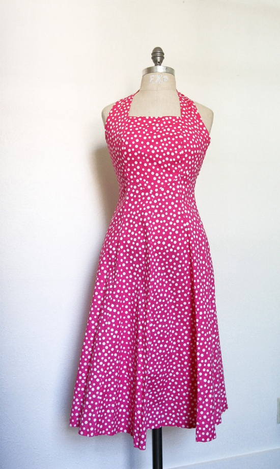 Summer Dress with Pockets  Pink Polka Dot Halter by dingaling, $24.00