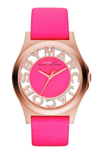 """Knockout Pink"" Marc by Marc Jacobs watch. Such a fun color!"