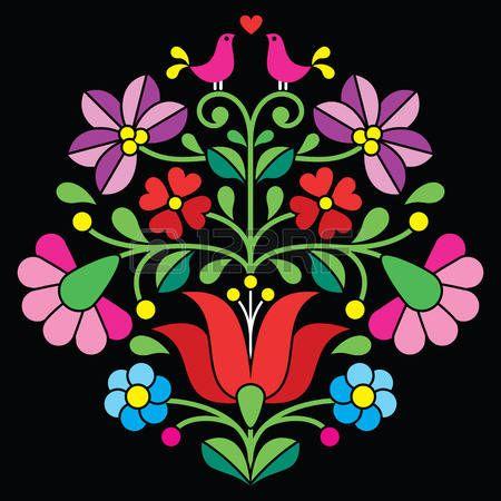 Kalocsai broderie - motif floral folklorique hongroise sur le noir photo