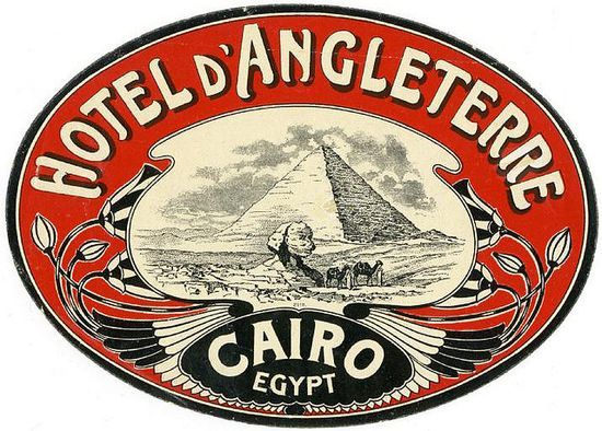 1900's Luggage label designed for the Hotel Angleterre in Cairo Egyp