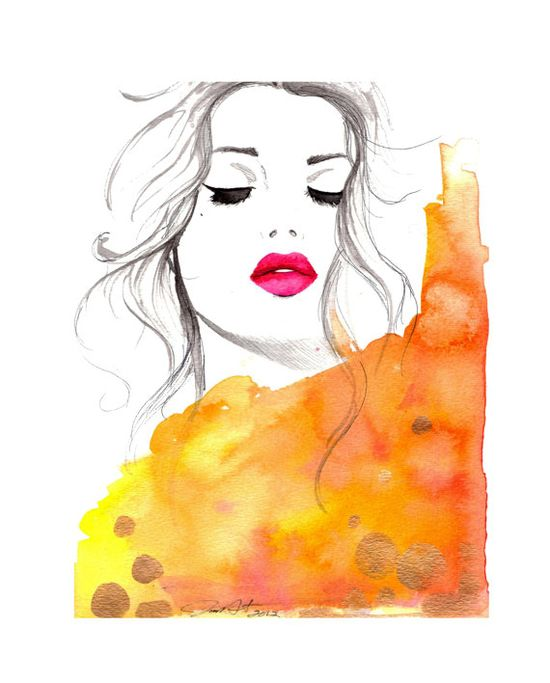 Drops of Gold, Original Watercolor and Pen Fashion Illustration, by Jessica Durrant