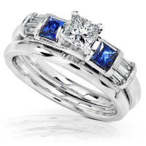 1 Carat Blue Sapphire  Diamond Wedding Rings Set in 14k White Gold Wedding Ring Finger REVIEW