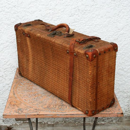 Antique Wicker Suitcase Leather Accents Metal by MysticLily, $129.00