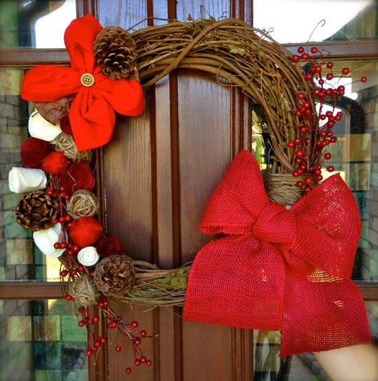 Rustic Berry Christmas Wreath on grapevine