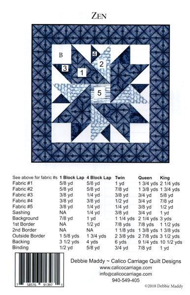 Calico Carriage Quilt Designs Pattern -ZEN Calico Carriage Quilt Design  VOIR LA DEUXIÈME PHOTO POUR LES EXIGENCES RELATIVES AU TISSU.  - ZEN conçu par Debbie Maddy pour Calico Carriage Quilt Designs.  - Inclut les exigences en matière de tissu et les directives pour les tailles suivantes; tour, jumeau, reine et roi  - Livraison gratuite aux États-Unis  -Clear et...  Avis des clients   Basé sur 1avis ÉCRIRE UN COMMENTAIRE 8,82€ Quantité:    Sous-total: 8,82€  MOTS CLÉS: 8-10/calico-carriage