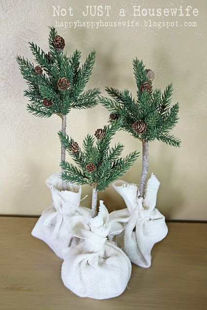 tutorial on how to make these pine tree topiaries!