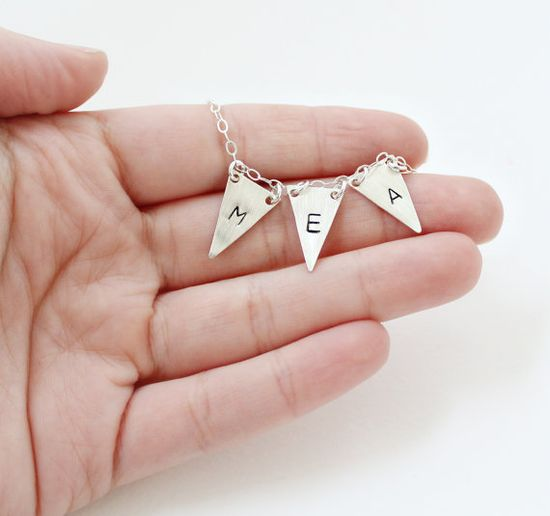 Three Initial Personalized Bunting Necklace